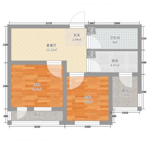 香槟新坐标2室2厅1卫1厨52.00㎡户型图