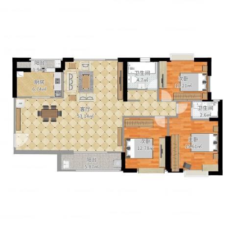 石狮凤凰城3室1厅2卫1厨143.00㎡户型图