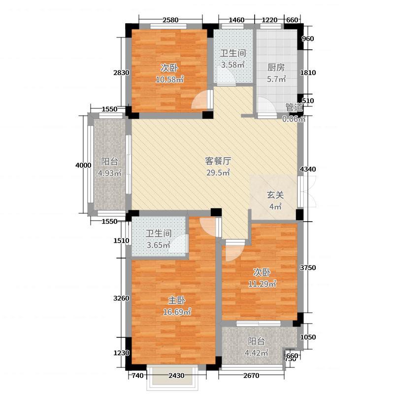 港悦华府113.00㎡A1户型3室3厅2卫1厨
