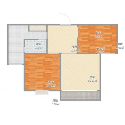 丽泽菊清苑2室2厅1卫1厨100.00㎡户型图