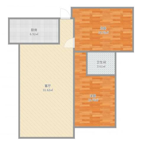 保集玫瑰湾2室1厅1卫1厨88.00㎡户型图