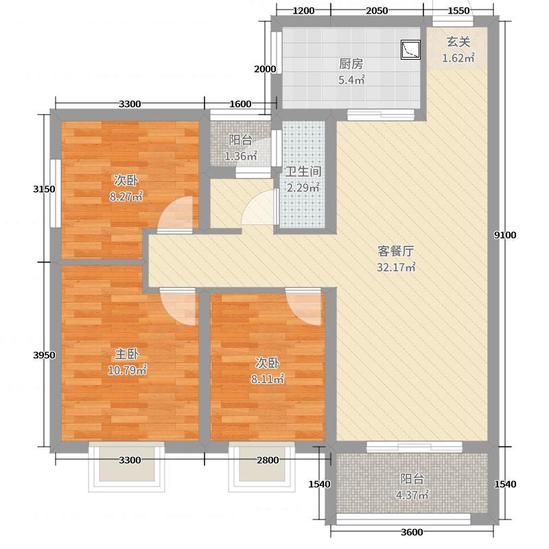 金泰・丝路荟103.00㎡A2户型3室3厅1卫1厨