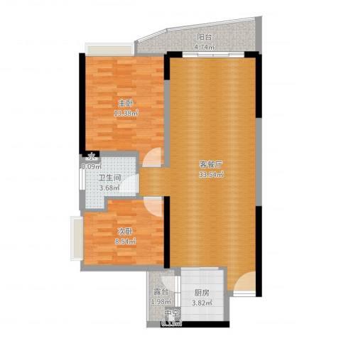 晟大海湾城2室2厅1卫1厨87.00㎡户型图
