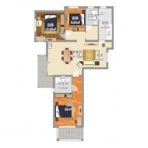 天阔逸城3室2厅2卫1厨117.00㎡户型图