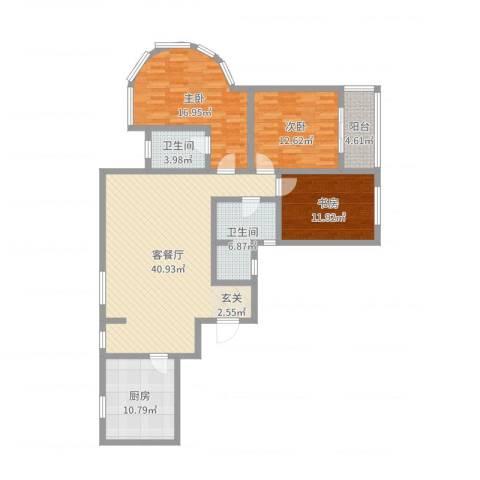 玫瑰公馆3室2厅2卫1厨136.00㎡户型图