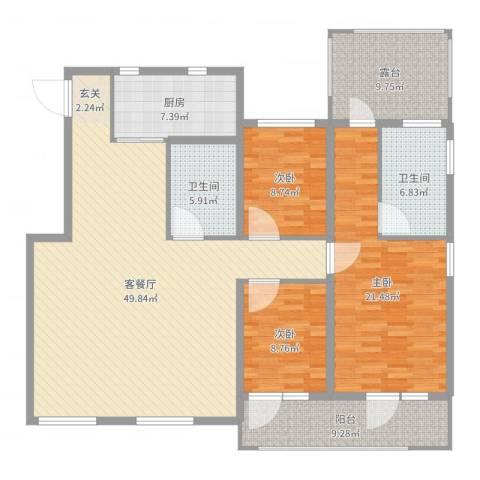 天茂湖三期温莎园3室2厅2卫1厨160.00㎡户型图