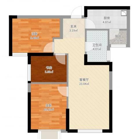 路劲太阳城时光里3室2厅1卫1厨74.00㎡户型图