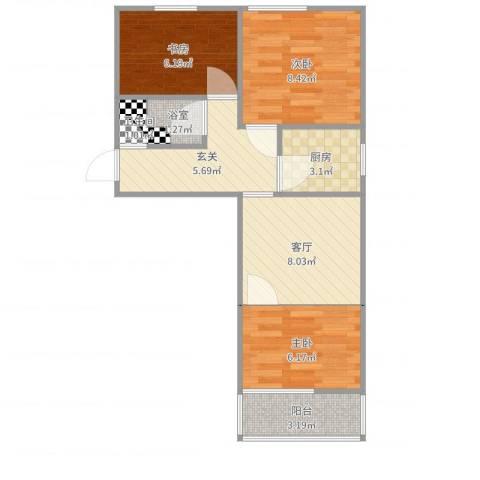 兴政西里3室1厅1卫1厨54.00㎡户型图