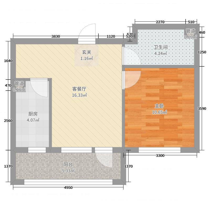 易和岭秀滨城52.00㎡4号楼D2户型1室1厅1卫1厨