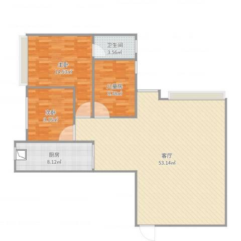 永川康安尚都3室1厅1卫1厨122.00㎡户型图