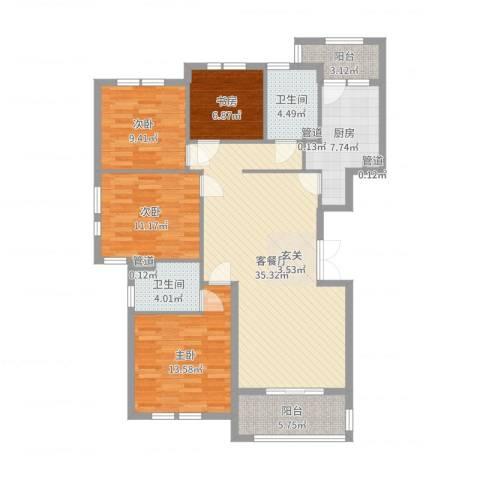 宝诚星海湾4室2厅2卫1厨127.00㎡户型图