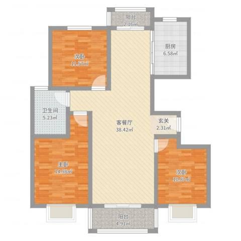 汇龙国际花园3室2厅1卫1厨118.00㎡户型图