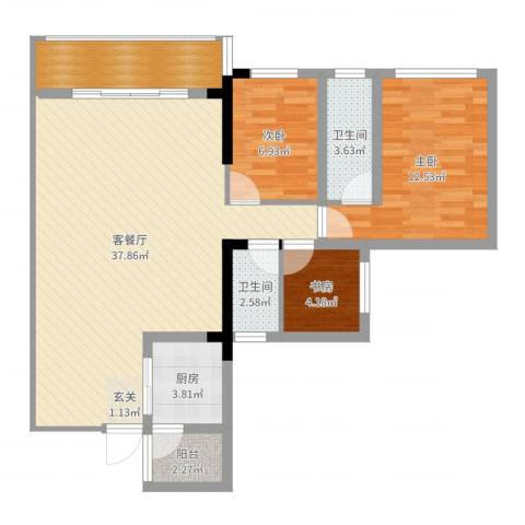 唯美嘉园3室2厅2卫1厨100.00㎡户型图