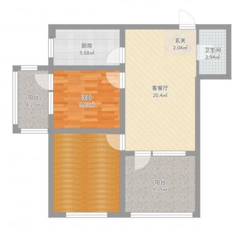 中房・金沙滩澜湾1室2厅1卫1厨80.00㎡户型图
