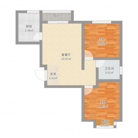 桃源居(桃源人家)2室2厅1卫1厨71.00㎡户型图