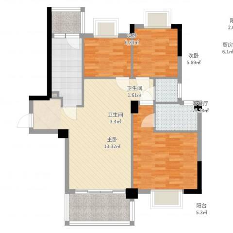 帝景名筑3室2厅2卫1厨100.00㎡户型图