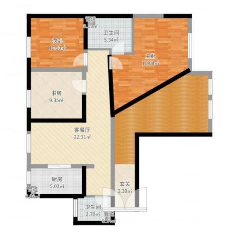 巨华世纪城二期和谐园3室2厅2卫1厨119.00㎡户型图