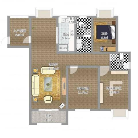2009庄园1室2厅1卫1厨122.00㎡户型图