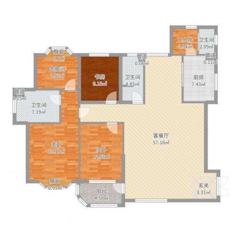 大连明珠3室2厅3卫1厨170.00㎡户型图