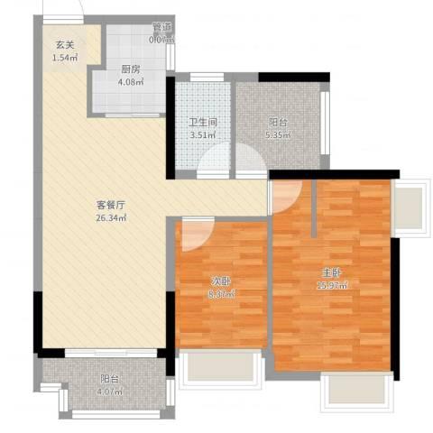 深基天海城市花园4栋01/02简欧风格2室2厅1卫1厨85.00㎡户型图