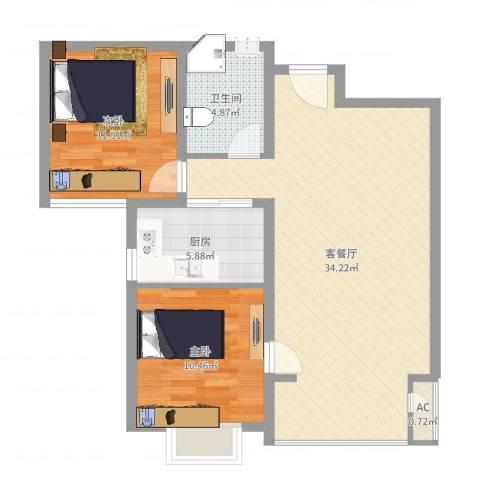 碧水蓝山2室2厅1卫1厨85.00㎡户型图