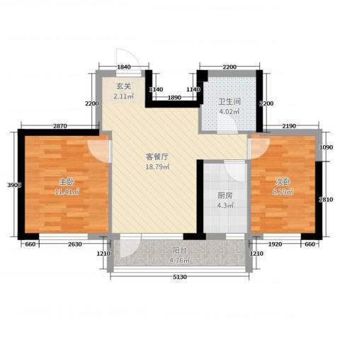 新加坡花园2室2厅1卫1厨75.00㎡户型图