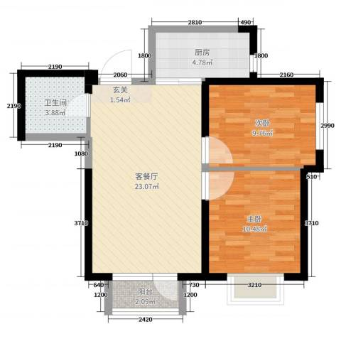 新加坡花园2室2厅1卫1厨81.00㎡户型图