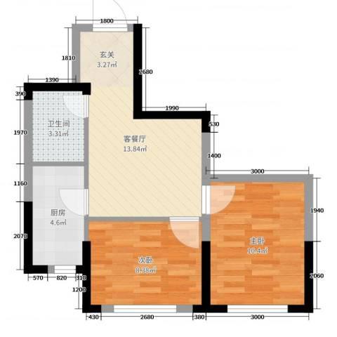 新加坡花园2室2厅1卫1厨65.00㎡户型图
