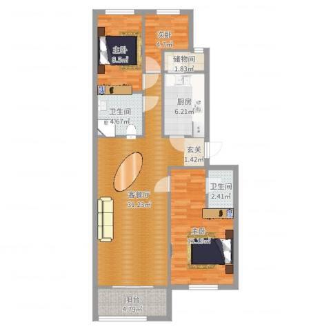 龙腾苑六区3室2厅2卫1厨99.00㎡户型图