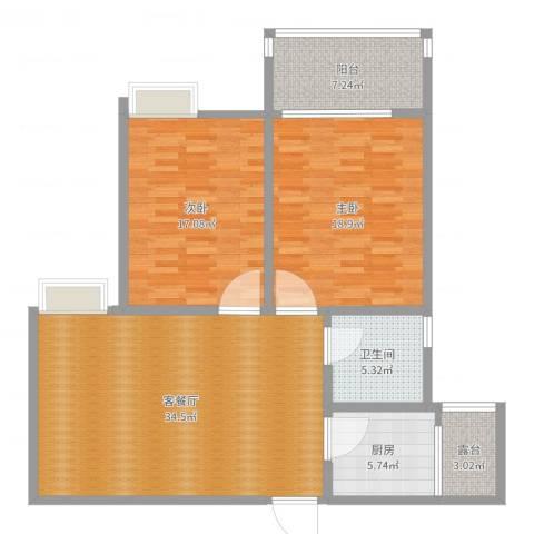天下荣郡G1-19022室2厅1卫1厨115.00㎡户型图