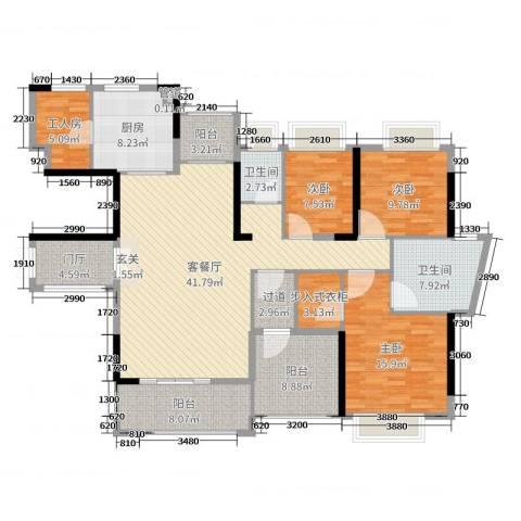 丰泰观山碧水・凌峰3室2厅2卫1厨163.00㎡户型图