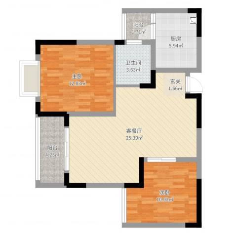 蠡墅花园天韵苑2室2厅1卫1厨80.00㎡户型图