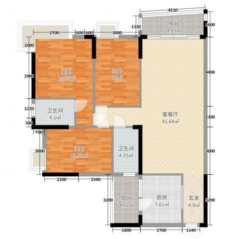 枫林水岸豪庭3室2厅2卫1厨132.00㎡户型图