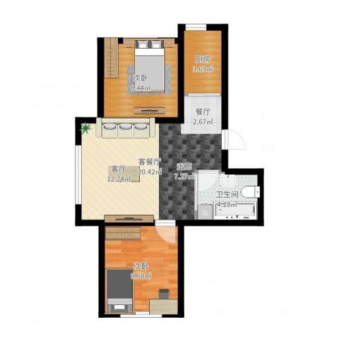 意大利风情小镇2室2厅1卫1厨58.00㎡户型图