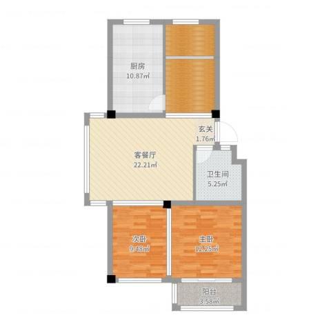 海阳海天景苑2室2厅1卫1厨92.00㎡户型图