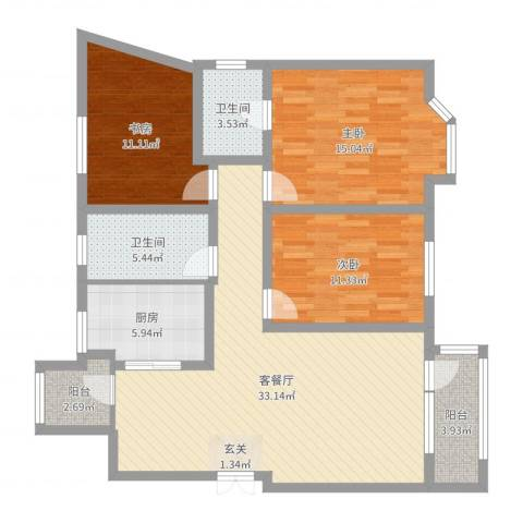 美域澜苑3室2厅2卫1厨115.00㎡户型图