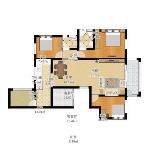 香格里拉花园4室2厅2卫1厨136.00㎡户型图