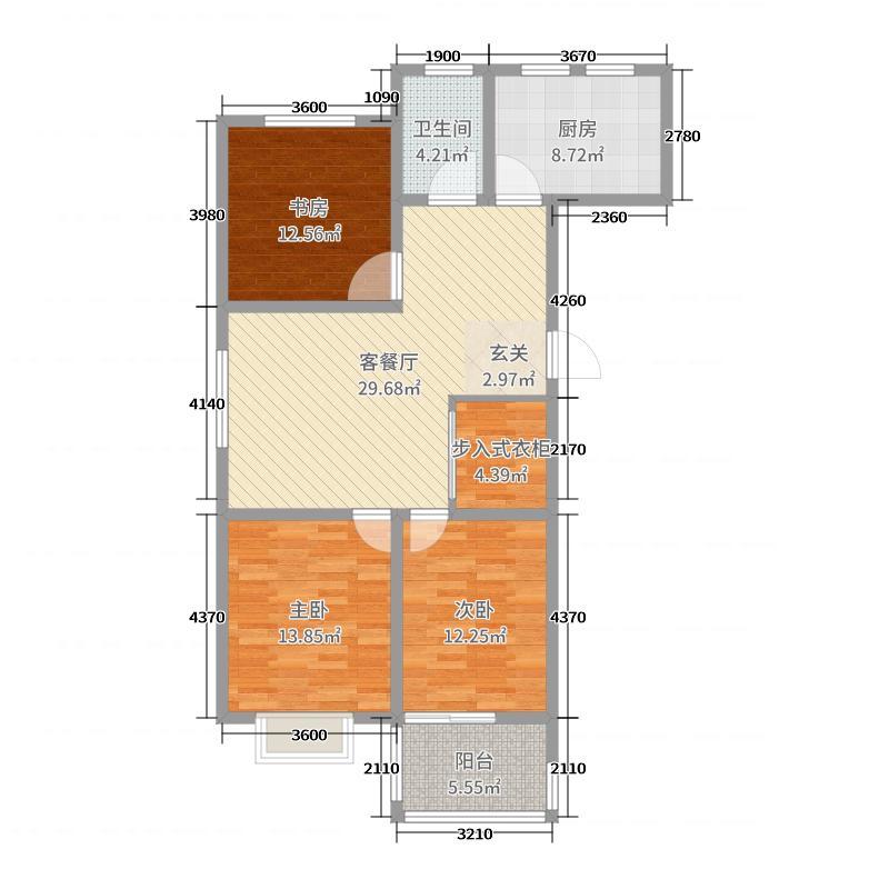银枫家园114.00㎡34/36号楼H2户型3室3厅1卫1厨