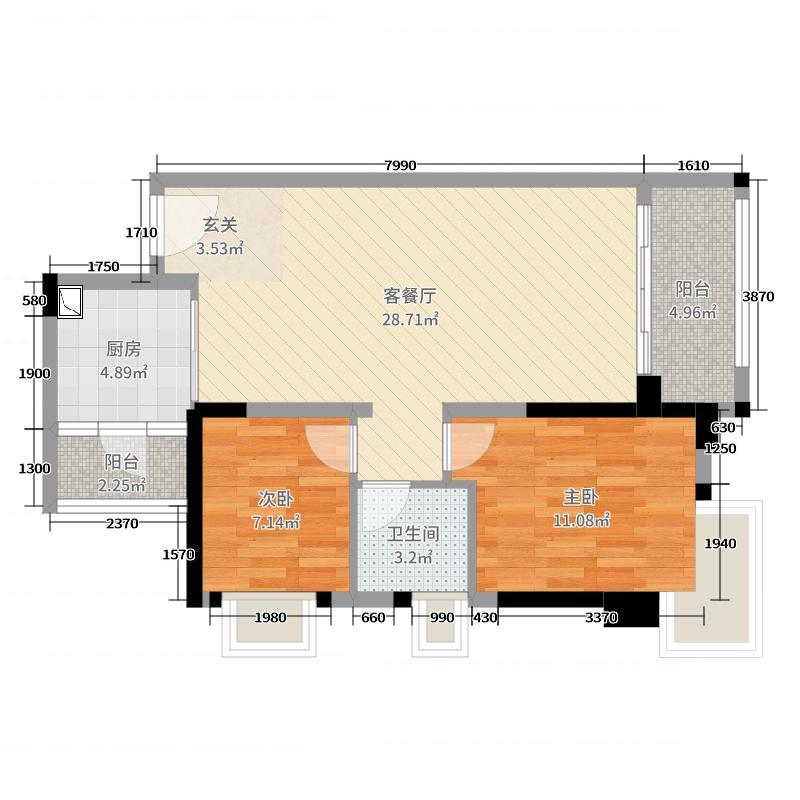 优越香格里76.01㎡4期6/9栋05户型2室2厅1卫1厨