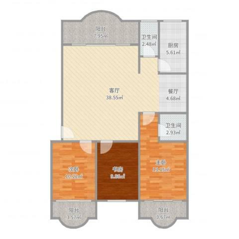云顶花园3室3室1厅2卫1厨122.00㎡户型图