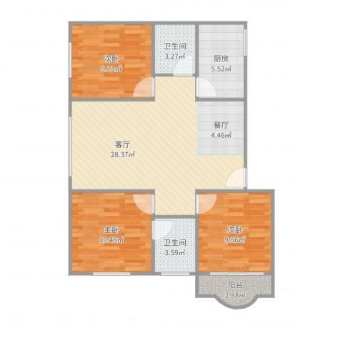 云顶花园西南3室3室1厅2卫1厨92.00㎡户型图