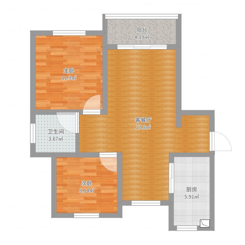陈向小区--1房型全景效果图