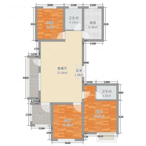 国鸿・香樟苑3室2厅2卫1厨88.71㎡户型图