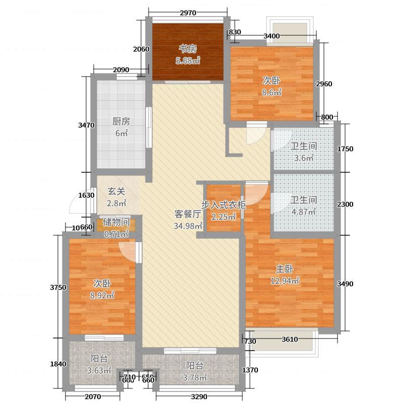国鸿・香樟苑120.00㎡小高层6号楼中间户B1户型3室3厅2卫1厨