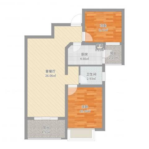 月星公馆2室2厅1卫1厨74.00㎡户型图