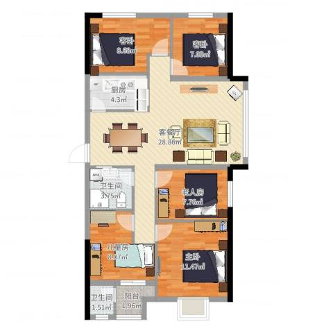 天成雅居5室2厅2卫1厨104.00㎡户型图