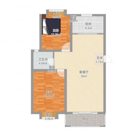 海信盈城2室2厅1卫1厨101.00㎡户型图