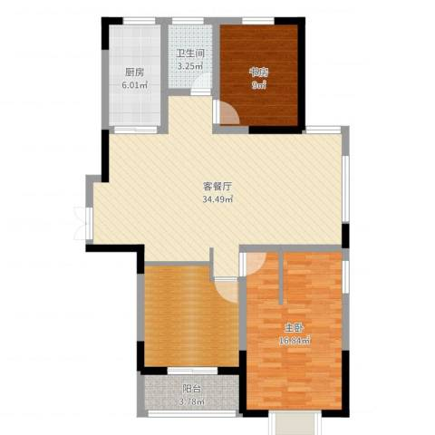 南湖家苑(二期)2室2厅1卫1厨105.00㎡户型图