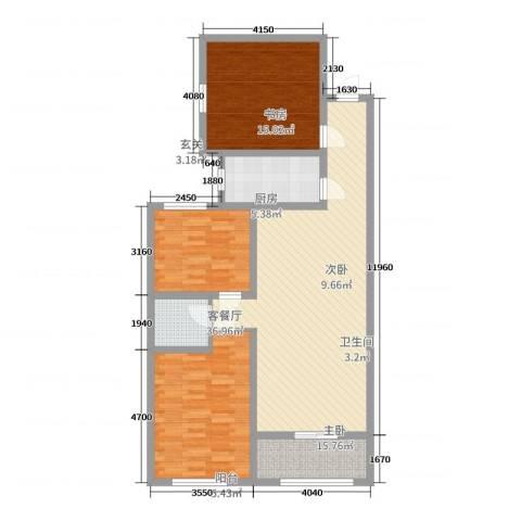 龙溪香岸3室2厅1卫1厨115.00㎡户型图