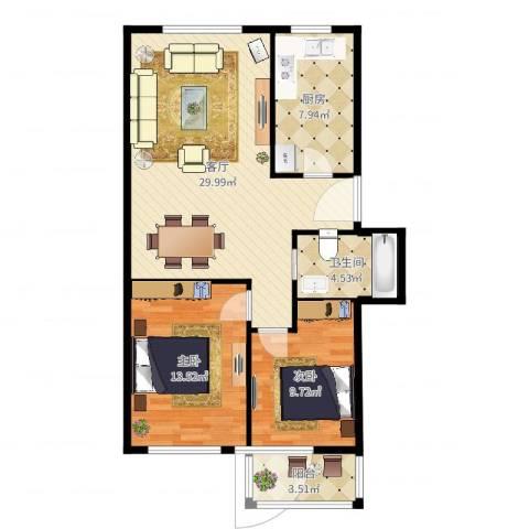 太平洋小区2室1厅1卫1厨87.00㎡户型图